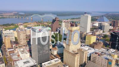Downtown Memphis Tennessee, High Rises, Skyscrapers, Businesses, Skyline, Stadium And Mississippi River - Aerial Video By Drone