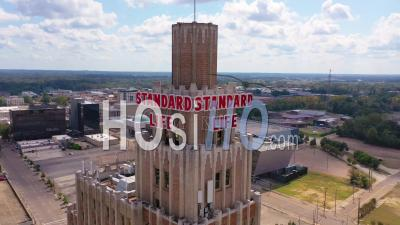Standard Life And Buildings In The Downtown Business District Of Jackson, Mississippi - Aerial Video By Drone