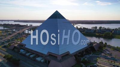 The Memphis Pyramid And Downtown Business District Of Memphis, Tennessee Is Background - Aerial Video By Drone
