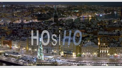 Gamla Stan On An Winternight, Stockholm Sweden - Aerial Video By Drone