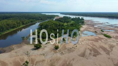 An Unpopulated Natural Area Region Of The Mississippi River, Near Greenville, Mississippi - Aerial Video By Drone