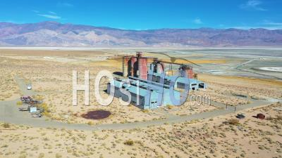 Aerial Over An Abandoned Glass Factory Plant Along Highway 395 At Owens Lake, Owens Valley, California. - Drone Point Of View