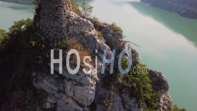 2019 - Aerial Video Over An Abandoned Ruin On Lake Zhinvali In The Republic Of Georgia - Drone Stock Footage