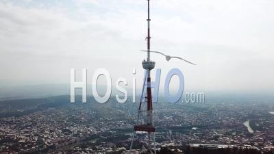 2019 - Aerial Video Around The Tbilisi Tv Broadcasting Tower In The Republic Of Georgia - Video Drone Footage