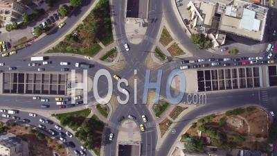 2019 - Aerial Video Of Traffic Circle Or Roundabout With Car Traffic, Amman, Jordan - Video Drone Footage