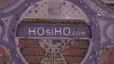 2019 - Aerial Straight Down Of Traffic Circle Or Roundabout With Car Traffic, Amman, Jordan. - Drone Point Of View
