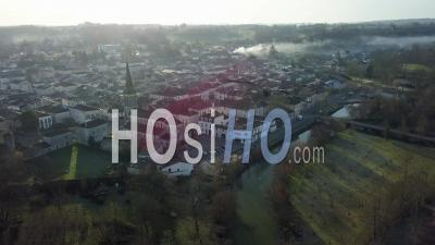 Village Of Eymet In Sunset - Drone Stock Footage