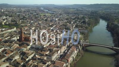 Villeneuve Sur Lot In Sunny Day - Video Drone Footage
