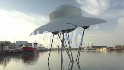 Artistic Work (suzanne Treister) In The Flood Basin Representing A Flying Saucer, Bordeaux - Video Drone Footage
