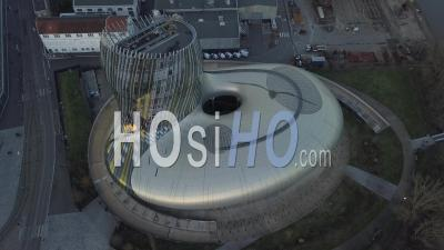 The Wine Museum Of Bordeaux In The Sunset - Drone Stock Footage