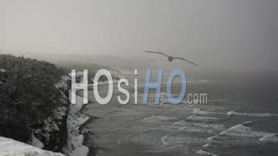 Time Lapse Of A Snowstorm Coming In From The Ocean To The Coast