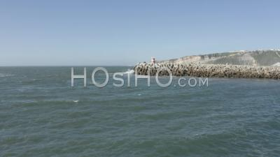 Nazare's Lighthouse From The Marina - Video Drone Footage