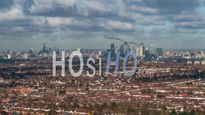 Aerial View Shot Of London Skyline, Shard, The City Panorama, Canary Wharf Day - Video Drone Footage
