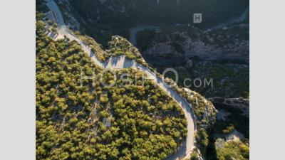 Aerial Photography Of A Road In Gorges Du Verdon, France - Aerial Photography
