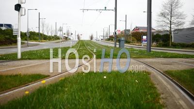 Rails De Tramway Vide à Brest, Bretagne, France