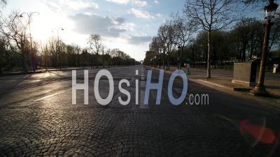 Champs Elysees, During Paris Lockdown 03/2020 - Video Drone Footage