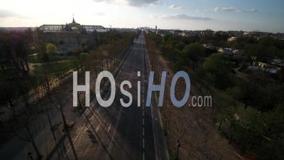 Paris Empty City, Champs Elysees, During Covid-19 Global Lockdown, France - Video Drone Footage