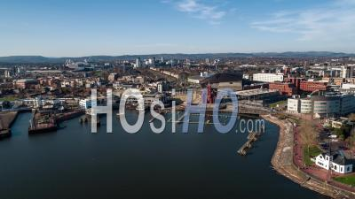 Establishing Bird Eye Aerial View Shot Of Cardiff Bay Wales United Kingdom - Video Drone Footage