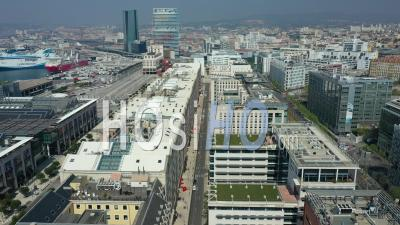 Marseille City And Place De La Joliette At Day 12, France - Video Drone Footage