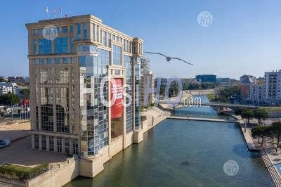 A Photography By Drone Of Port-Marianne In Montpellier During Covid-19