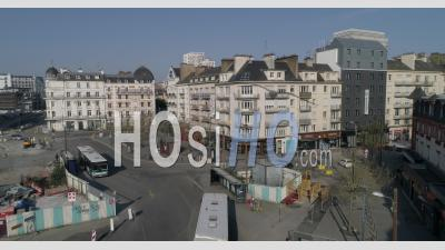 The Railway Station Place In Rennes, Brittany, France, During The Containment - Video Drone Footage