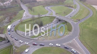 Roundabout Seen From Above - Dronelapse