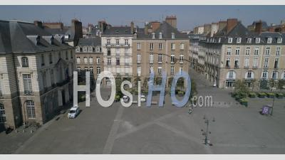 Town Hall Place Of Rennes City During The Containment Due To The Covid-19 Epidemic - Video Drone Footage