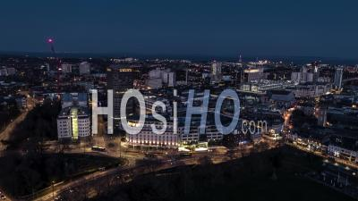 Aerial View Shot Of Cardiff Wales United Kingdom Evening Night - Video Drone Footage