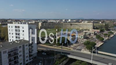 Aerial View Of Place De L'europe, In Port Marianne District In Montpellier During Covid-19 - Video Drone Footage