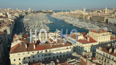Canebiere And Commerce Chamber In Marseille City At Day 17 Of Covid-19 Outbreak, France - Video Drone Footage