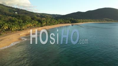 Beach Of Grande Anse , Guadeloupe During Confinement - Video Drone Footage