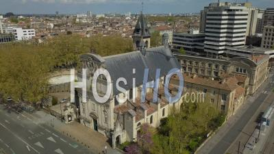 Saint Bruno Church, Meriadeck District In Bordeaux City During Covid-19, France - Video Drone Footage