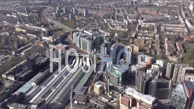 Paddington Station And Paddington Basin Development, London Filmed By Helicopter