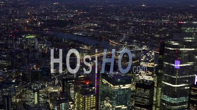 City Of London, River Thames, The Shard, Tower Bridge And Tower Of London At Night, London Filmed By Helicopter