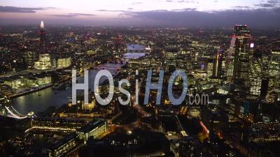 City Of London And River Thames At Dusk, London Filmed By Helicopter