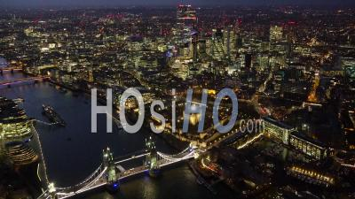Tower Bridge, Tower Of London, City Of London And River Thames At Dusk, London Filmed By Helicopter