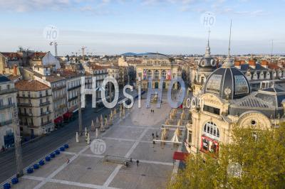 Photography Of La Place De La Comedie During Covid 19 - Aerial Photography