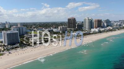 Covid-19 Aerial Footage Of Deserted Fort Lauderdale Beach - Video Drone Footage