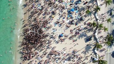 Vidéo Aérienne Covid-19 Des Vacances De Printemps De La Plage De Fort Lauderdale - Vidéo Drone
