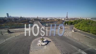 Place De La Concorde In Paris During The Covid-19 Lockdown – Video Drone Footage
