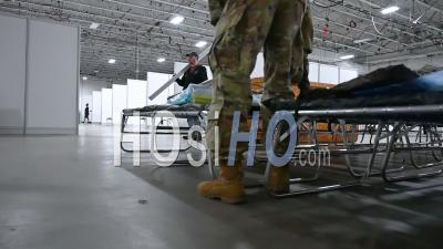 2020 - New Jersey National Guard Soldiers Assist With The Set Up Of A Federal Medical Station At The Meadowlands Exposition Center During The Coronavirus Covid-19 Pandemic Outbreak.