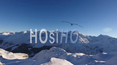 Large View On The Alps Mountains In The Morning Sun, Tignes, France - Video Drone Footage