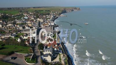Aerial View Above Arromanches Les Bains During The Containment Covid19 - Video Drone Footage