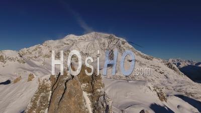 Aerial View Of The Rocky And Snowy Alps Mountains, Tignes, France - Video Drone Footage