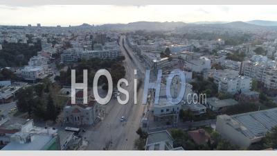 Principales Rues Et Avenues D'athènes En Grèce En Raison Du Confinement De Covid-19 - Vidéo Par Drone