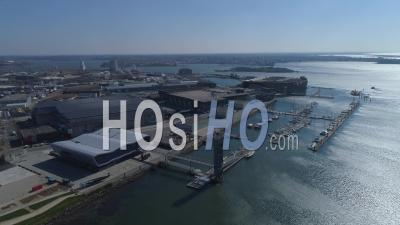 Empty Lorient La Base, The Offshore Racing Centre Of Lorient, At Day15 Of Covid-19 Outbreak, France - Video Drone Footage