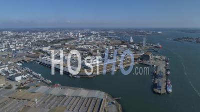 Empty Fishing Port Of Lorient City, At Noon The Day15 Of Covid-19 Outbreak, Morbihan, Brittany, France - Video Drone Footage
