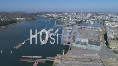 Empty Lorient La Base Of Lorient City, At Day15 Of Covid-19 Outbreak, Morbihan, Brittany, France - Video Drone Footage