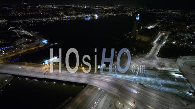 Traffic On Central Bridge In Stockholm, Sweden - Video Drone Footage