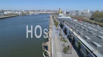 Empty Quai Des Antilles And Its Anneaux On The Island Of Nantes, At Day19 Of Covid-19 Outbreak, France - Video Drone Footage